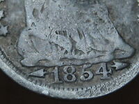 1854 SEATED LIBERTY HALF DIME WITH ARROWS   TYPE COIN