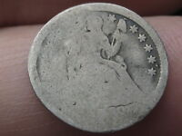 1840 1858 P SEATED LIBERTY HALF DIME  WITH DRAPERY