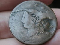 1833 MATRON HEAD LARGE CENT PENNY  ROTATED REVERSE ERROR  COUNTERSTAMP?