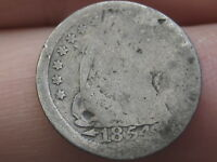1854 P SEATED LIBERTY HALF DIME WITH ARROWS