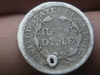1857 P SEATED LIBERTY HALF DIME  GOOD/VG DETAILS HOLED