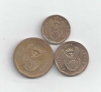 3 DIFFERENT COINS FROM SOUTH AFRICA   10 20 & 50 CENTS  ALL DATING 2004