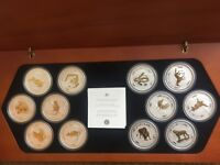 THE AUSTRALIAN LUNAR SILVER SERIES PROOF SET 12 YEAR GILDED ADDITION 1999 2010