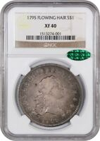 1795 FLOWING HAIR $1 NGC/CAC EXTRA FINE 40 3 LEAVES CHOICE EXTRA FINE  TYPE COIN