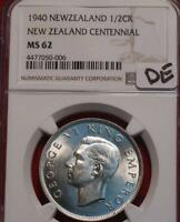 1940 NEW ZEALAND 1/2 CROWN SILVER FOREIGN COIN NGC GRADED MS