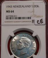 1943 NEW ZEALAND 1/2 CROWN SILVER FOREIGN COIN NGC GRADED MS