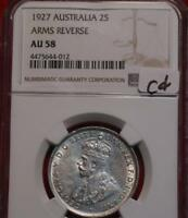 1927 AUSTRALIA TWO SHILLING SILVER COIN NGC GRADED AU 58 ARM