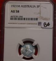 1921M AUSTRALIA 3 PENCE SILVER COIN NGC GRADED AU 58