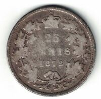 CANADA 1872H 25 CENTS QUARTER QUEEN VICTORIA CANADIAN STERLING SILVER COIN