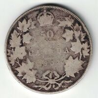CANADA 1902 FIFTY CENTS HALF DOLLAR EDWARD VII STERLING SILVER COIN