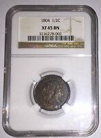 1804 DRAPED BUST HALF CENT 1/2 CENT NGC EXTRA FINE 45BN