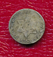 1853 THREE CENT SILVER COIN   - CIRCULATED SHIPS FREE