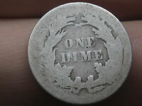 1860-1891 SEATED LIBERTY SILVER DIME- LOWBALL, HEAVILY WORN