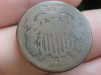 1864 TWO 2 CENT PIECE- CIVIL WAR TYPE COIN, CHOCOLATE BROWN