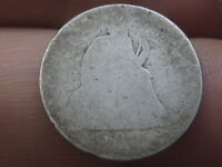 1870-1879 SEATED LIBERTY DIME- HEAVILY WORN
