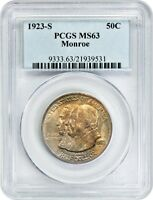 1923-S MONROE 50C PCGS MINT STATE 63 - SILVER CLASSIC COMMEMORATIVE
