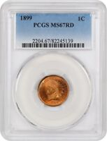 1899 1C PCGS MINT STATE 67 RD - BLAZING RED SUPERB GEM - INDIAN CENT