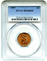 1907 1C PCGS MINT STATE 65 RD - GORGEOUS, RED GEM - INDIAN CENT - GORGEOUS, RED GEM