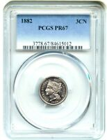 1882 3CN PCGS PR 67 - SILKY GEM PROOF - 3-CENT NICKEL - SILKY GEM PROOF