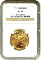 1991 GOLD EAGLE $25 NGC MINT STATE 69 - AMERICAN GOLD EAGLE AGE - LOW MINTAGE ISSUE