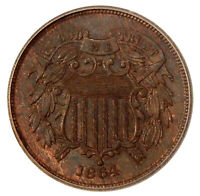 1864 LARGE MOTTO 2C ICG MINT STATE 64 BN  NEAR GEM TWO CENT COPPER