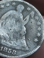 1858 P SEATED LIBERTY HALF DIME  GOOD/VG DETAILS
