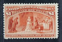 CKSTAMPS: US STAMPS COLLECTION SCOTT241 $1 COLUMBIAN UNUSED NG SIGNED CV$500
