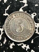 1910 STRAIT SETTLEMENTS 5 CENTS LOTX7600 SILVER  NICE DETAIL  OLD CLEANING