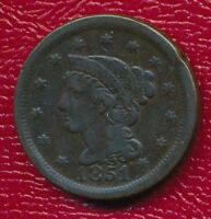 1851 BRAIDED HAIR LARGE CENT INTERESTING TYPE COIN SHIPS FREE