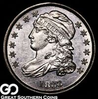 1833 CAPPED BUST DIME, SHARP CHOICE BU EARLY SILVER TYPE  SHIPS FREE