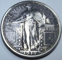 1917-D TYPE 1 EXTRA FINE -AU 25C US SILVER STANDING LIBERTY QUARTER DOLLAR CURRENCY MONEY