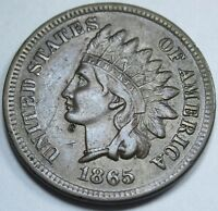 1865 EXTRA FINE  FANCY 5 US INDIAN HEAD PENNY 1 CENT ANTIQUE U.S. CURRENCY CIVIL WAR COIN