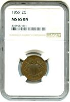 1865 2C NGC MINT STATE 65 BN - POPULAR TYPE COIN - 2-CENT PIECE - POPULAR TYPE COIN