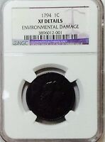 1794 LARGE CENT - NGC EXTRA FINE  DETAILS -  COIN -