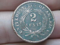 1864 TWO 2 CENT PIECE- CIVIL WAR TYPE COIN, LARGE MOTTO