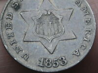 1853 THREE 3 CENT SILVER TRIME- EXTRA FINE  DETAILS