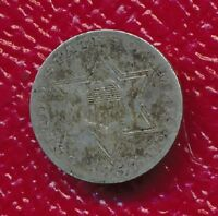 1857 THREE CENT SILVER TRIME GREAT TONING SHIPS FREE