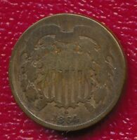 1864 COPPER TWO CENT PIECE INTERESTING CIVIL WAR TYPE COIN SHIPS FREE