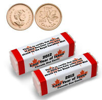 2 ROLLS OF 2012 CANADIAN PENNIES LAST CANADIAN CENT