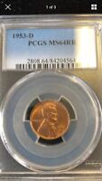 1953-D PCGS MINT STATE 64RB LINCOLN WHEAT CENT .99C NO RESERVE