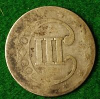USA SILVER 3 CENT DATED 1852 IN GAP FILLER CONDITION   FREE UK POSTAGE