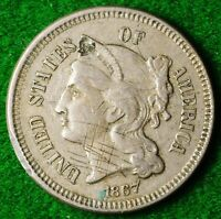 USA NICKEL 3 CENT DATED 1867 IN REASONABLE CONDITION   FREE UK POSTAGE