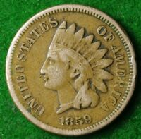 USA 1859 CUPRO NICKEL CENT IN NICE COLLECTABLE CONDITION FREE UK POSTAGE