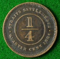 STRAITS SETTLEMENTS QUARTER CENT 1884 IN    FREE UK POSTAGE