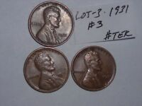 WHEAT CENT 3-1931 LINCOLN CENT 1931-P LOT OF 3 HIGH GRADE CENTS FREE S/H