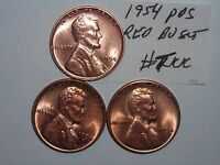 WHEAT CENT LOT 1954,1954-D,1954-S  RED BU SET  LUSTEROUS RED UNC MS SET
