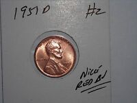 WHEAT CENT 1951D  RED BU 1951-D LINCOLN CENT LOT 2 GREAT CARTWHEEL LUSTER