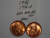 WHEAT CENT 1946 P & D SET GREAT GEM RED BU 1946-D,1946-P LOT LINCOLN CENT MS
