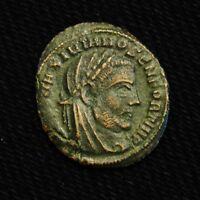 BILLON HALF FOLLIS DIVUS MAXIMIANUS RV MAXIMIAN SEATED LEFT AD 217 8 SISCIA MINT