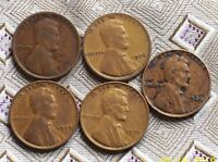 1916,26,27,35,36 LINCOLN WHEAT CENT'S   5 COIN'S   ITM 7447